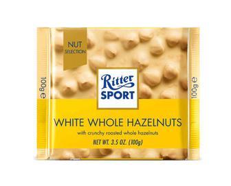 Шоколад Ritter Sport білий з цільними лісовими горіхами, 100г