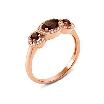 Золотое кольцо с бриллиантами и раухтопазом. Артикул 52605/1раух