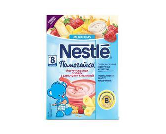 Каша Nestle, молочна з йогуртом, Помогайка. 3 злаки, з бананом та полуницею, 200 г