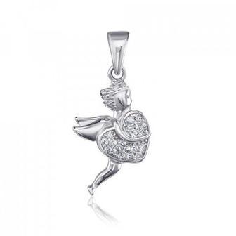 Серебряная подвеска «Ангел» с фианитами. Артикул 2P18686-P/12/1