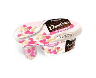 Скидка 29% ▷ Йогурт «Даніссімо» «Фантазія» 6,8% жиру, глазуровані сердечка, 98г