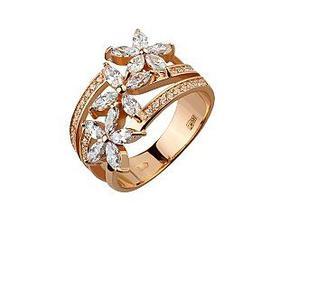Золотое кольцо Цветы с фианитами