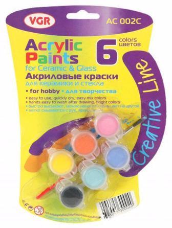 Фарби акрилові 6 кол. з пензликом VGR