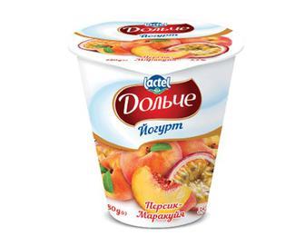 Йогурт «Дольче» з наповнювачем персик-маракуйя, 3,2% жиру, 280г