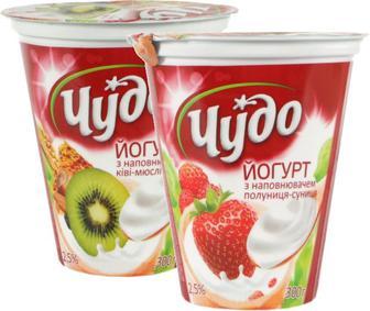 Йогурт Чудо Полуниця-Суниця та Ківі-Мюслі 2,5% 300г