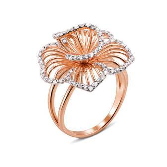 Золотое кольцо с фианитами. Артикул 13036