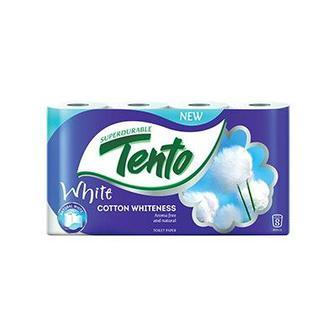 Бумага туалетная 2-х слойная белая, COTTON WHITE, 8 шт, TENTO
