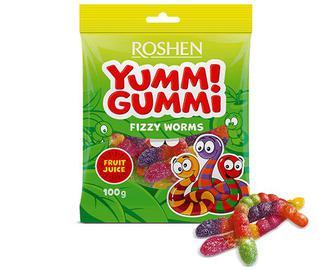 Цукерки Roshen Yummi Gummi Fizzy Worms желейні, 100г