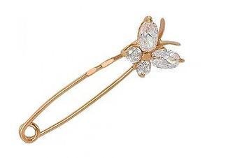 Золотая булавка Бабочка с фианитами