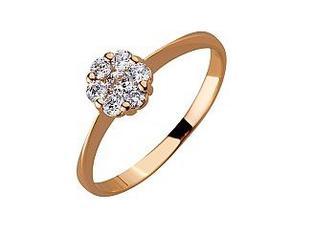 Золотое кольцо с фианитами Артикул 01-17499635