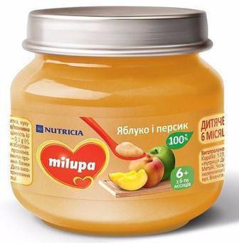 ПЮРЕ яблуко і гарбуз, яблуко і груша, 125 г яблуко і персик, 100 г Milupa