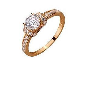 Золотое кольцо с фианитами Артикул 01-17408742
