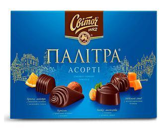 Цукерки «Світоч» «Палітра Асорті» темний шоколад, 200г