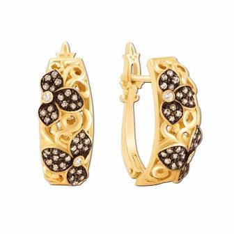 Золотые серьги с бриллиантами. Артикул 52879/1.5л к