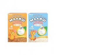Детская сухая молочная смесь растворимая овсянка/гречка/рис, Малиш, 350г