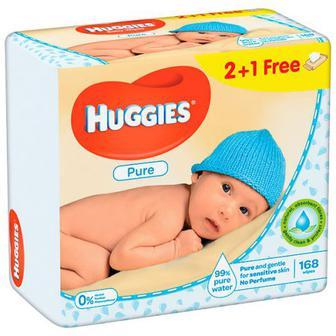 Серветки Huggies Pure дитячі вологі 2+1шт