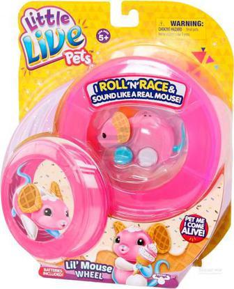 Іграшка інтерактивна Little Live Pets мишеня «Вафелька» з колесом 28194