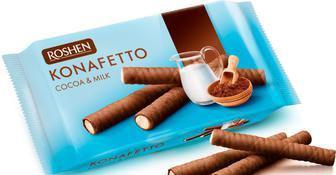 Вафельні трубочки Konafetto какао і молоко Рошен156 г