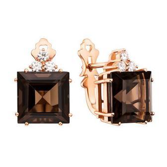 Золотые серьги с бриллиантами и раухтопазом. Артикул 52850/2.25раух