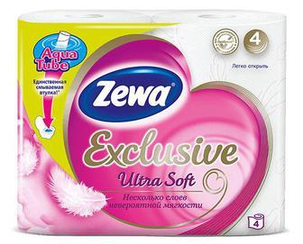 Папір туалетний Zewa Exclusive Ultra Soft 4-шаровий, 4рулони/уп