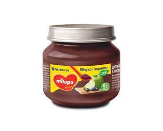 Пюре Milupa фруктове Яблуко і Чорниця від 6 міс. 100 гр