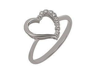 Золотое кольцо Сердце с фианитами