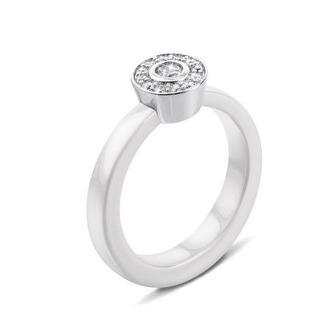 Серебряное кольцо с керамикой и фианитами. Артикул К2ФК1/1011-16