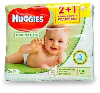 Вологі серветки Huggies Natural Care 168шт