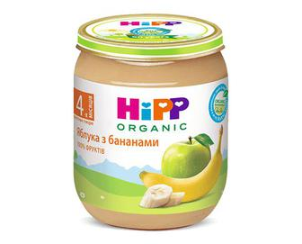 Пюре HiPP яблука з бананами, 125г