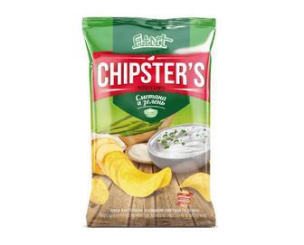 Чіпси Flint Chipster's натуральні зі смаком сметани та зелені, 130г