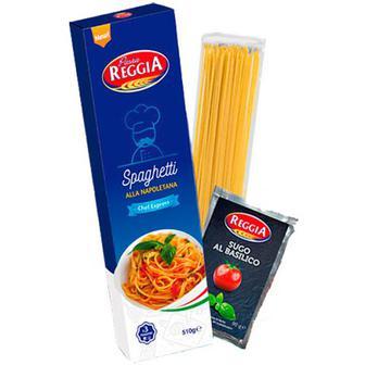Макарони Pasta Reggia Spaghetti 450г+соус з базиліком