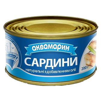 Рибні консерви Аквамарин Сардина НДО 230г