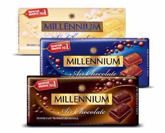 Шоколад пористий чорний, молочний,  білий Millennium 90г