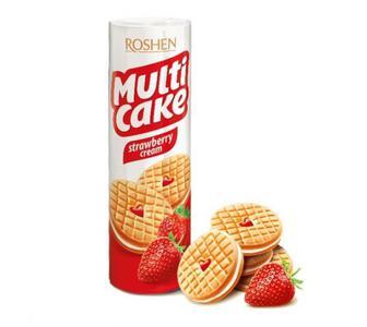 Печиво Multicake полуниця-крем Рошен 195г