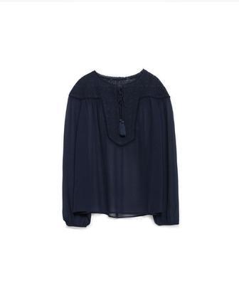 Блуза з вишивкою на грудях 7521/221